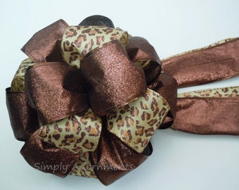 Leopard Christmas Bow Brown Animal Christmas Bow Tree Topper Bow Chocolate Brown Leopard Bows Leopard Party Decoration