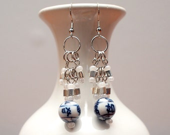 Blue and White Asian Ceramic Beaded Chain Malle Good Luck Earrings