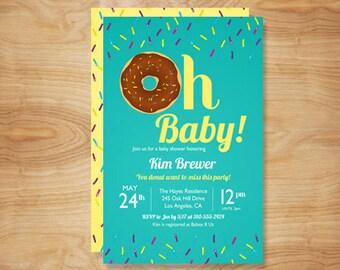 Oh Baby Donut Baby Shower Invitation, DIY Printable Invitation / Doughnut Baby Shower Invite / Gender Neutral Baby Shower Invites, Sprinkle