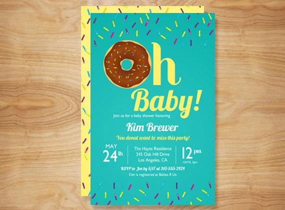 Items Similar To Oh Baby Donut Baby Shower Invitation Diy