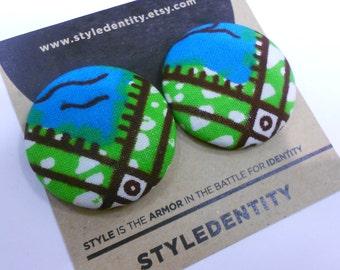 Teal and Green Ankara Button Earrings