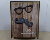 Dad/Grandpa Wood Grain Father's Day Card with Glasses & Mustache