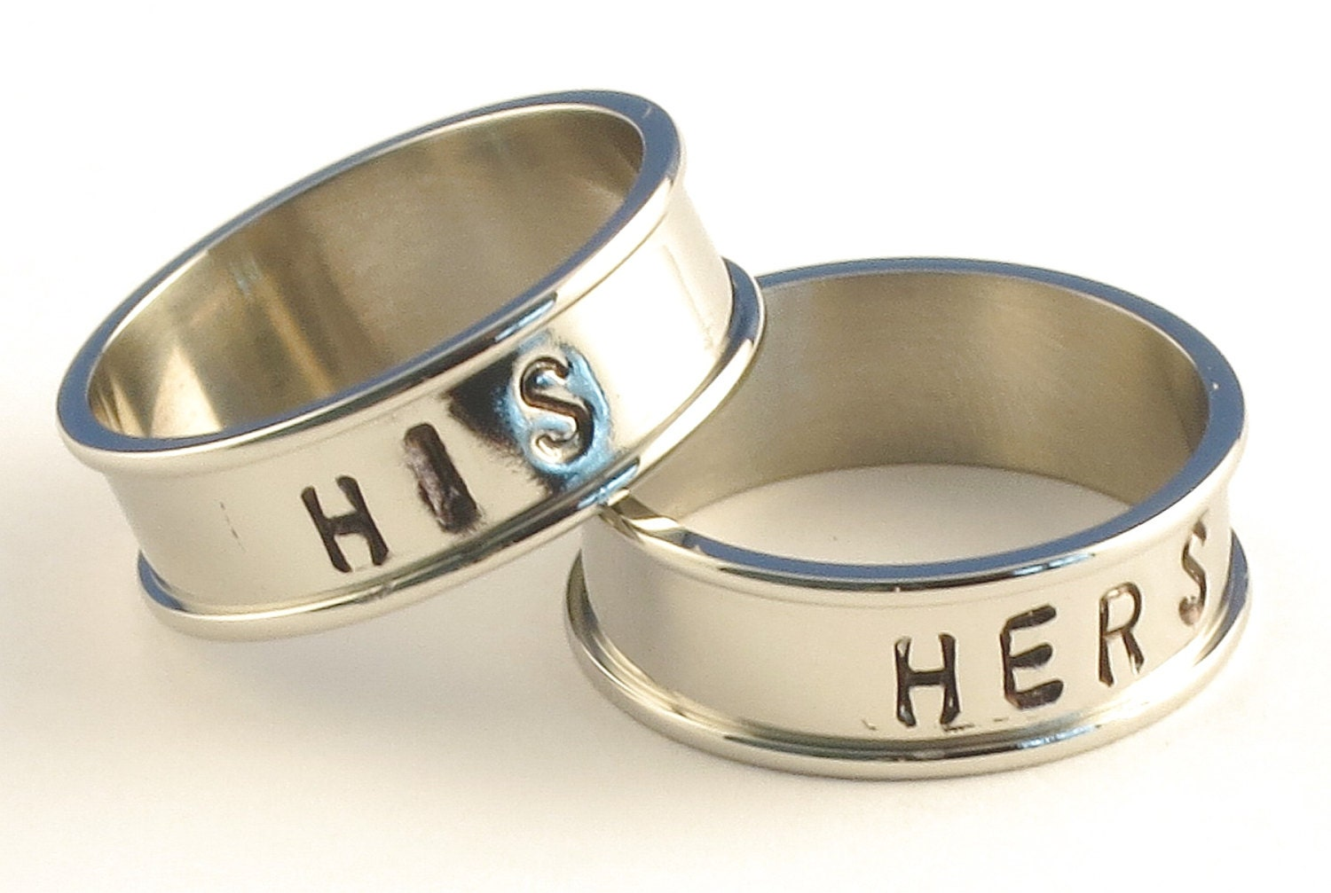 HIS and HERS - Couples Stainless Steel Channel Band Name Ring 7mm - Available in Ring Sizes 3-14