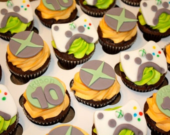 XBOX GAMER - Fondant Cupcake, and Cookie Toppers - 1 Dozen