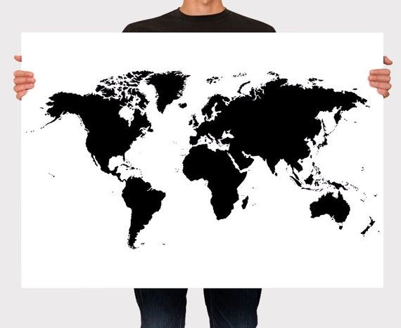 world map poster black and white personalized wall art. Black Bedroom Furniture Sets. Home Design Ideas