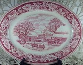 Currier & Ives Thanksgiving Red Transferware Platter by Homer Laughlin