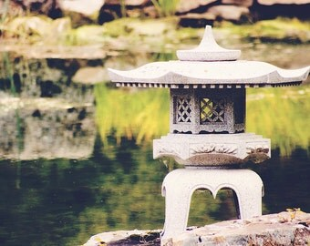 Garden Photography - Japanese stone lantern photograph, zen, 8x10 fine art photography