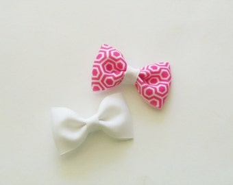 Baby Hair Bows, Mini Hair Bows, Small Hair Bows, Hair Bows for Infants, Girls Hair Bows, White Hair Bow