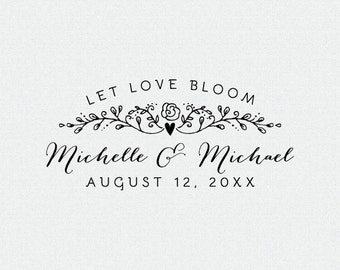 Let Love bloom, Personalized Flower Seed Wedding Favor, Personalized Rubber Stamp, Custom Stamp, Self Inking Stamp, Wood Stamp (T182)