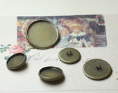 Antique bronze blank button with Round Bezel Cup Cabochon Mountings, 5 size available- 12mm/ 14mm/ 16mm/ 18mm/ 20mm- W05989