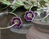 Purple Flower Ceramic Earrings  Sterling Silver Plated Hoop Earrings Minimalist Ceramic Jewelry