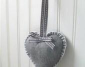 Hanging heart grey wool blanket stitch