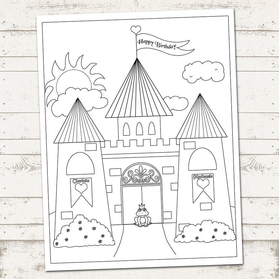 princess party castle coloring page happy birthday