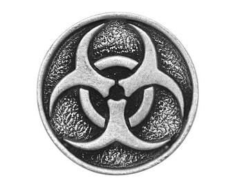 2 Zombie Biohazard 1 inch ( 24 mm ) Pewter Buttons