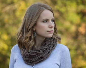 Mocha Brown Knit Cowl, Womens Winter Accessories