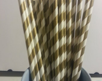 25 Paper Straws: Gold Stripes