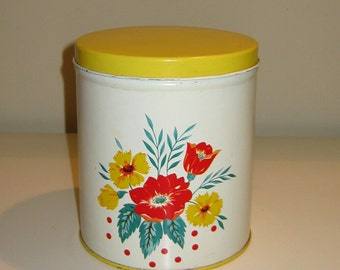 MidCentury Vintage Floral Canister with Yellow Lid and Bottom