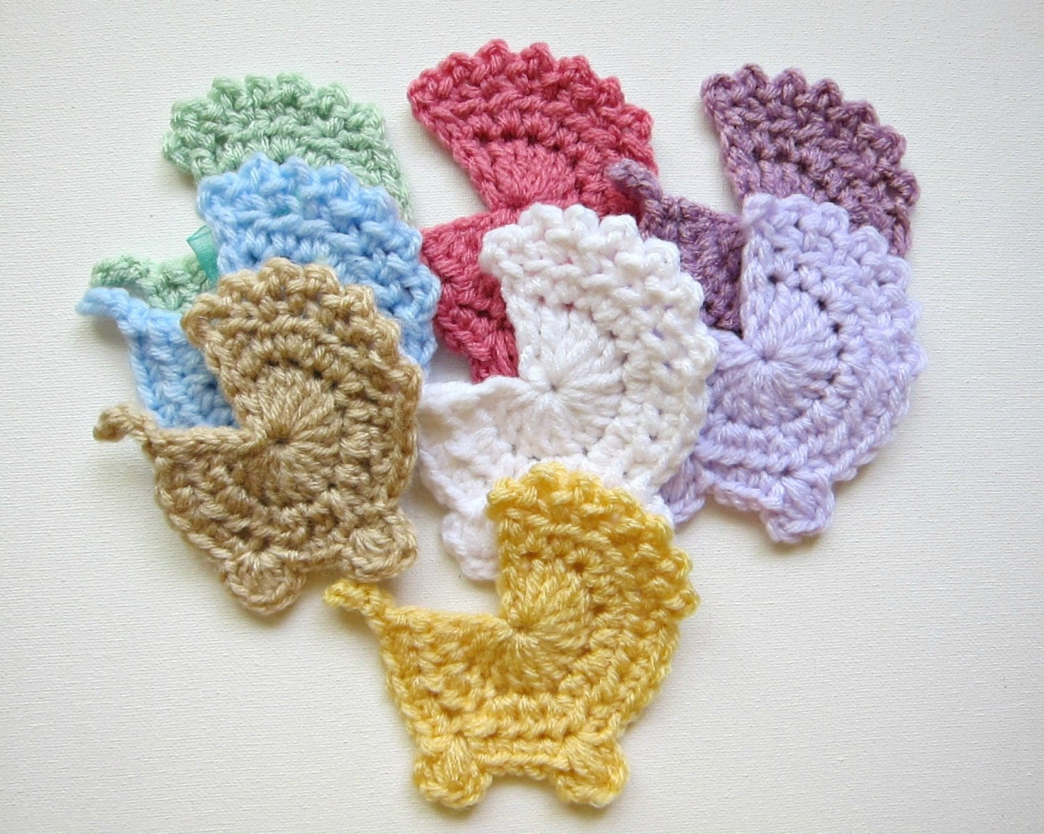 1pc 4 Crochet BABY MOSES Basket Applique Carriage
