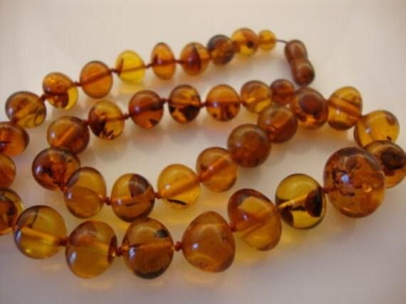 Amber Baltic Necklace Real Vintage 32.31 Gr Baroque Cognac Color Excellent