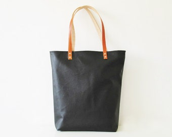 Large Leather Tote bag, Faux leather, Shopper bag,Black , Minimalistic tote, Casual Tote