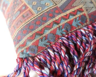 Tribal Fringed Bolster Pillow