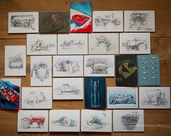 Motoring Art - Set of 25 Blank Cards
