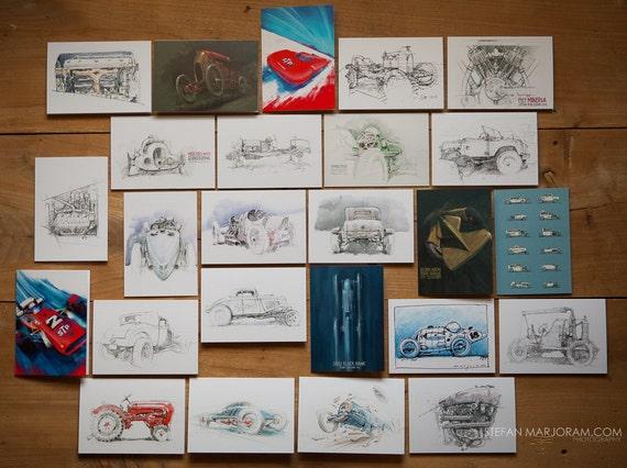 Motoring Art - Set of 25 Blank Cards