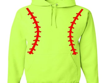Custom Personalized Softball Pullover Hooded Sweatshirt ( Unisex Adult Hoodie ) - Neon Safety Green / Red