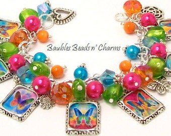 Butterfly Butterflies Charm Bracelet Jewelry, Picture Charm Jewelry, Altered Art Charm Bracelet