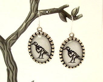 Poe Nevermore Raven Dangle Earrings, Nevermore Altered Art Earrings, Poe Raven Picture Charm Earrings, Literary Earrings
