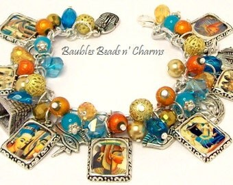 Egyptian Charm Bracelet Jewelry, Ancient Egyptian Picture Charm Bracelet, Egypt Altered Art Charm Bracelet Jewelry