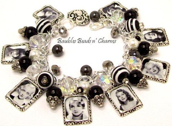 Charm Bracelet Retro Movie Stars, Movie Actress Charm Bracelet, Altered Art Charm Bracelet, Silver Charm Bracelet