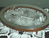 Mid Century Danish Style Retro Oval Glasbake Silver Edge Serving Platter With Oval Teak Walnut Stand