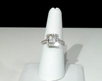 Ladies, 14K, White, Gold, Diamond, Engagement, Princess, Halo, Ring
