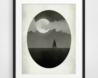 Sailboat Print Full Moon Print Gothic Home Decor Whimsical Art Moon Art Moon Poster Planet Wall Art Black and White Art Modern Wall Decor