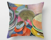 African Baskets woven in many colors Photo throw Pillow Cover