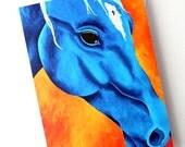 Blue Horse Card 4 x 6 Card Thank You Card Equine Card Equestrian Art Acrylic Card With Envelope, Pop Art Card, Colorful Animal Art Fine Art
