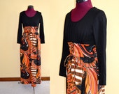 1960s Vintage Psychedelic Black and Orange Tie Front Maxi Dress size S bust 33