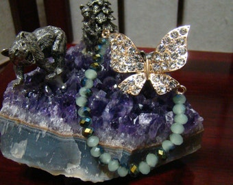800E,Crystal Rhinestone Butterfly Bracelet