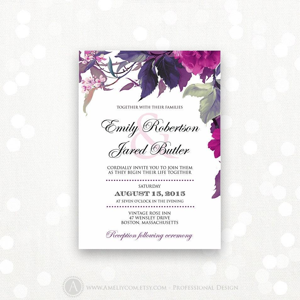 Printable Wedding Invitation Lilac & Purple Weddings By