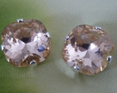 Large Cushion Cut Stud Earrings (12mm) made w/ Swarovski Elements - Light Peach