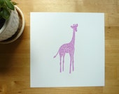 Baby animal art print Violet the Giraffe in Pink/Purple, nursery wall decor