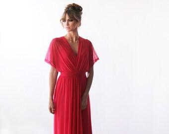 Coral maxi sheer chiffon dress, Bat-wings sleeves dress 1027