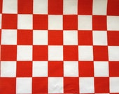 "Poly Cotton Checker Print Red/ White 60"" Fabric by the Yard - 1 Yard"