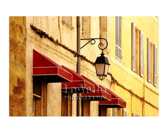 Red Awnings Photo, Lemon Yellow, Cranberry, Provence, France, Shabby Chic Decor, Travel Photography, French Style, Street Lamp