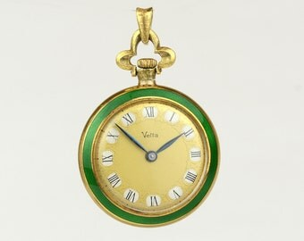 "Ladies Vintage 1940's 18K Yellow Gold and  Enamel ""Vetta 250"" Pocket Watch"