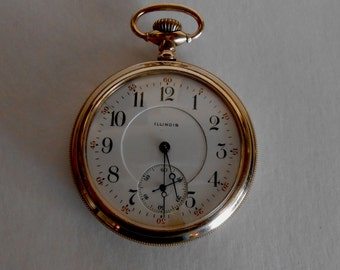 Antique pre 1920 Illinois Pocket watch, 15 jewel, Double Roller