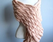 Pink scarf dusty pink handmade hand knit pink pale scarf cable knit wrap mother gift - woolpleasure