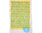 Double Hundreds & Thousands Tea Towel in baby blue and yellow