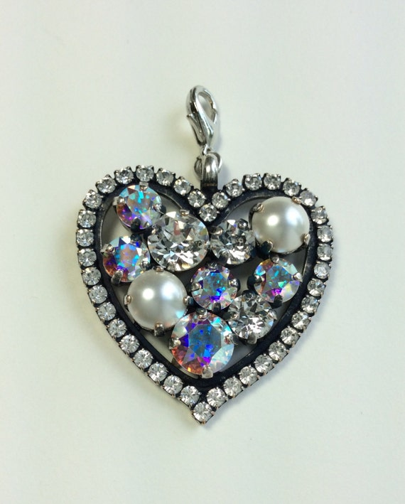 Swarovski Crystal & Pearl Heart Shaped - Add-On Charm - in  Crystal, Aurora Borealis, and Creamy Pearls    FREE SHIPPING - SALE - 35.